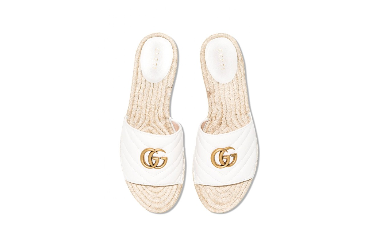 Quilted White Leather GG Slides