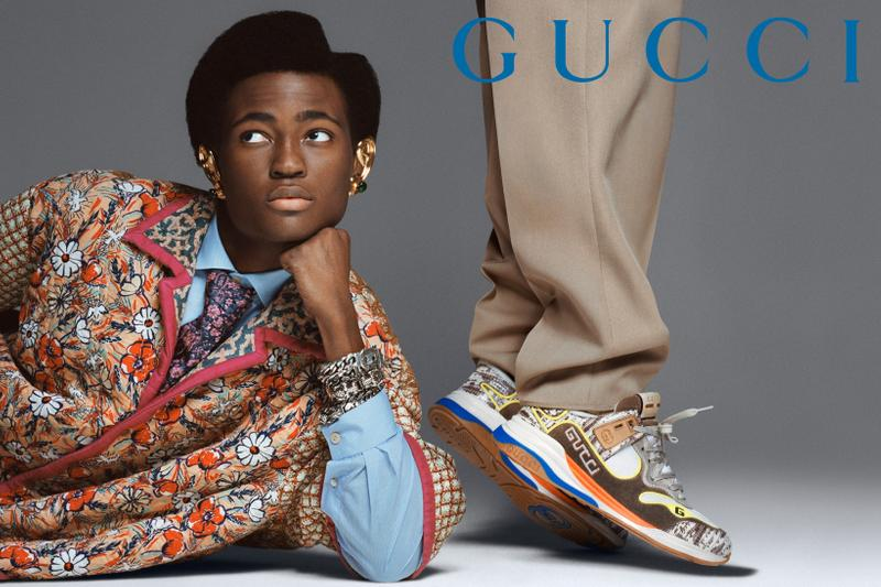 GucciPretAPorter Fall Winter 2019 Campaign Shirt Red Blue Sneakers Cream Brown