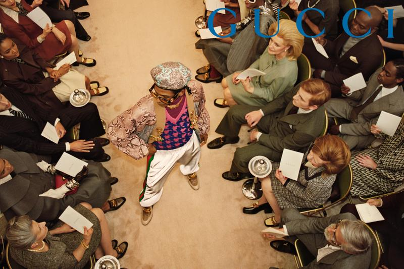 GucciPretAPorter Fall Winter 2019 Campaign Hat Jacket Tan Pants White