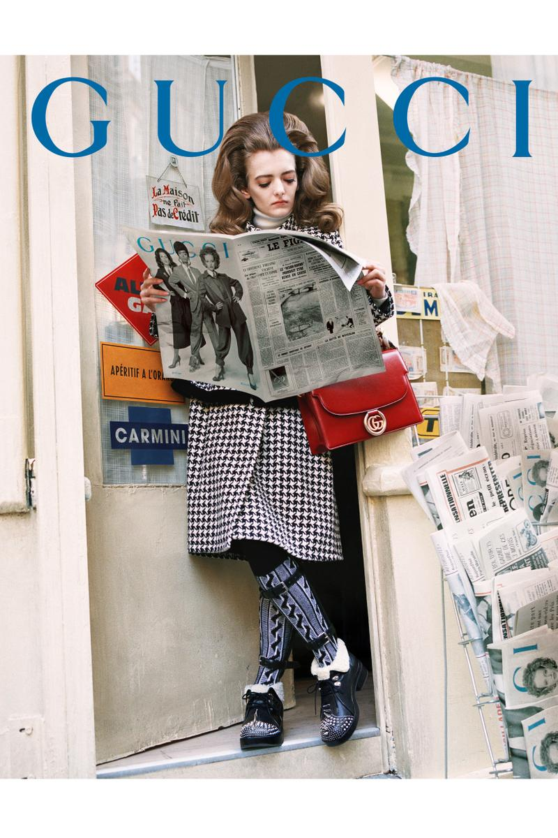 GucciPretAPorter Fall Winter 2019 Campaign Jacket Shoes Blue Bag Red