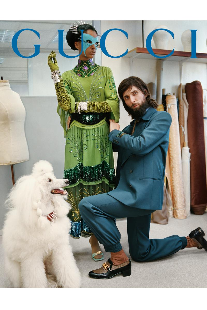GucciPretAPorter Fall Winter 2019 Campaign Dress Green Suit Blue