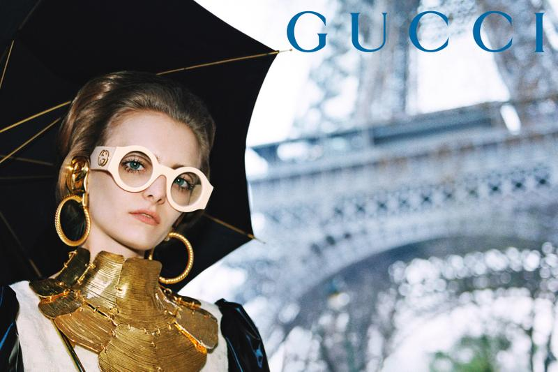 GucciPretAPorter Fall Winter 2019 Campaign Necklace Gold Sunglasses Cream