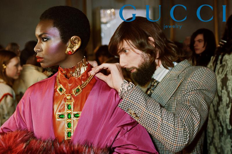 GucciPretAPorter Fall Winter 2019 Campaign Necklace Earrings Gold Jacket Pink