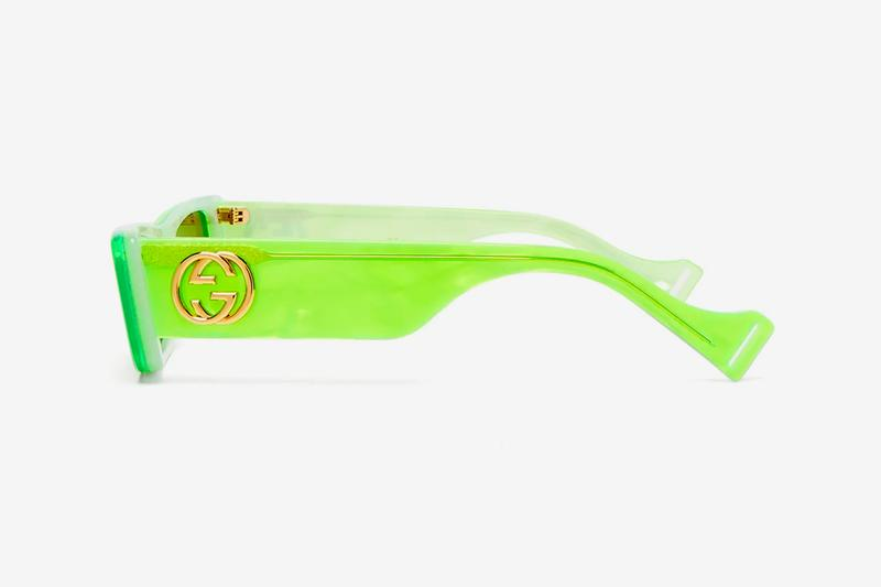 gucci sunglasses matchesfashion acetate frame neon green alessandro michele shades eyewear