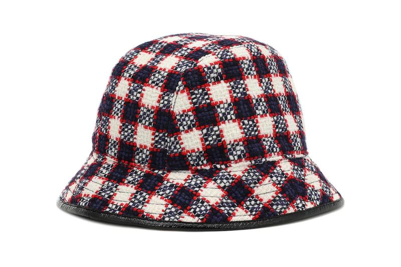 gucci bucket hat wool-blend check plaid gossip girl retro double gg logo