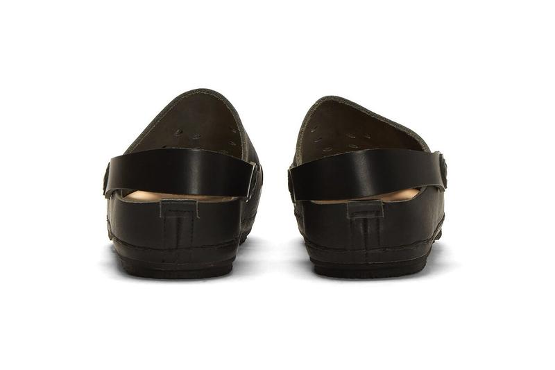 hender scheme japanese design leather black crocs cut out sandals