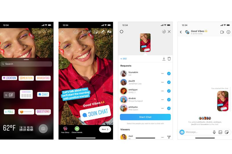 "Instagram Adds ""Chat"" Feature To Stories Sticker Option Communication Groups Messaging System"