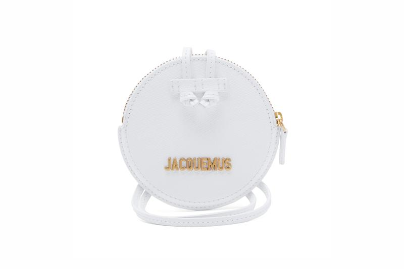 Jacquemus Le Pitchou grained-leather necklace bag pink white