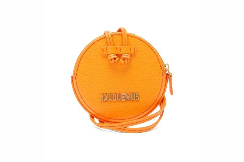 Jacquemus Le Pitchou grained-leather necklace bag yellow