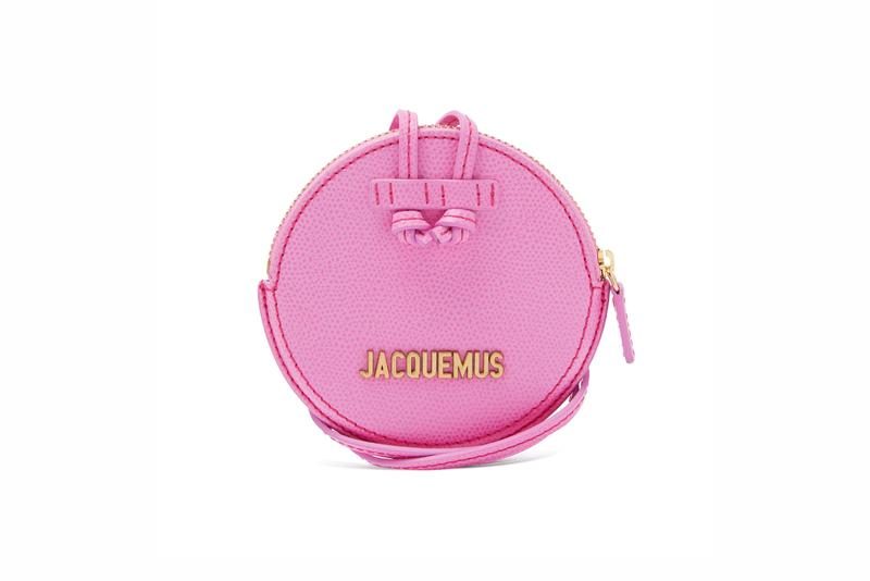 Jacquemus Le Pitchou grained-leather necklace bag pink