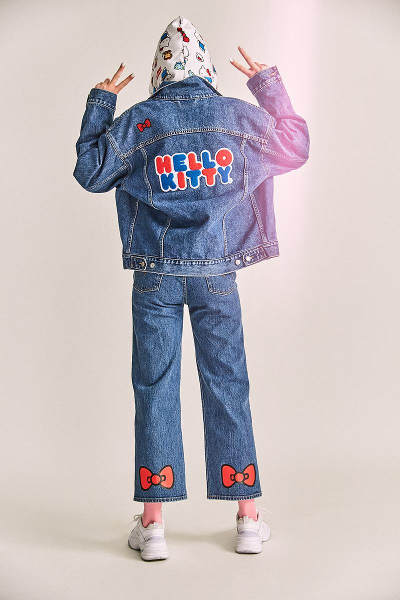 levis hello kitty anniversary collaboration collection womens girls limited edition tshirts overalls hoodies denim jackets jeans bags