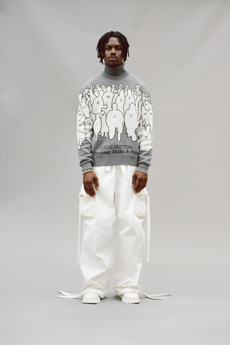 Louis Vuitton Men's Pre-Spring 2020 Lookbook Sweater Grey Pants White