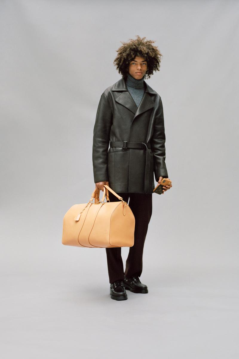 Louis Vuitton Men's Pre-Spring 2020 Lookbook Jacket Green Pants Black Bag Tan