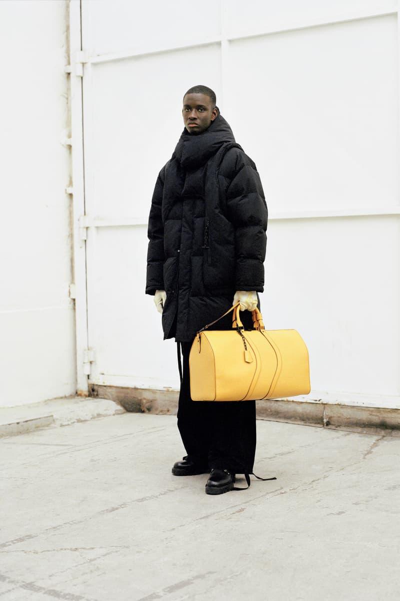 Louis Vuitton Men's Pre-Spring 2020 Lookbook Jacket Pants Black Bag Yellow