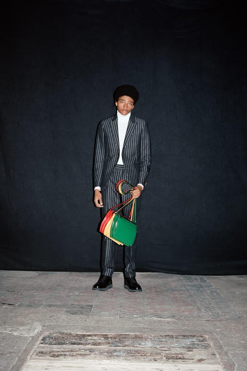 Louis Vuitton Men's Pre-Spring 2020 Lookbook Jacket Grey Bag Yellow Red Green
