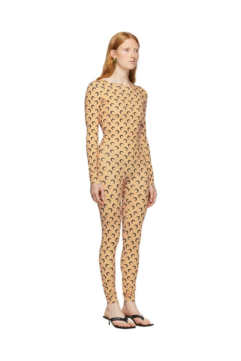 marine serre bodysuit jumpsuit catsuit moon print tan long sleeve