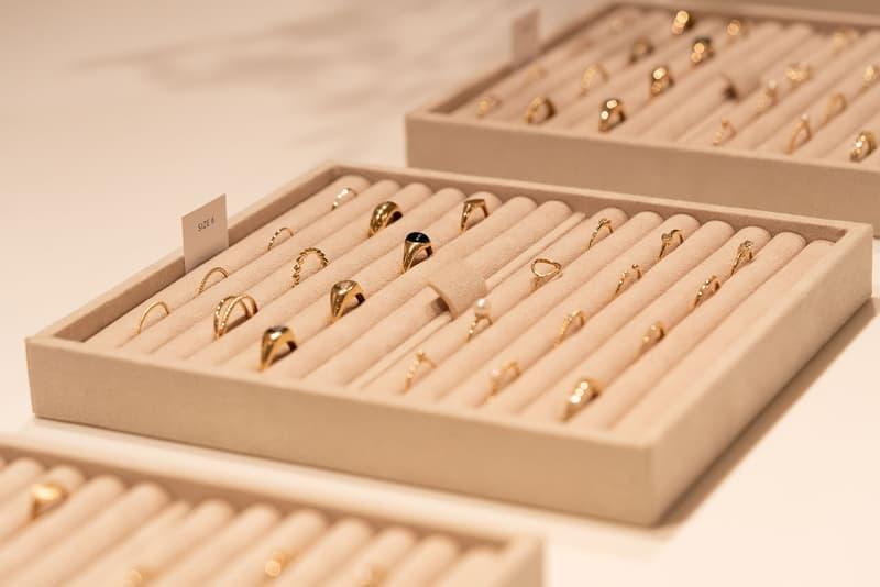 mejuri los angeles jewelry showroom earrings rings necklaces