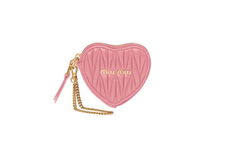 miu miu heart matelasse handbag purse wallet red pink