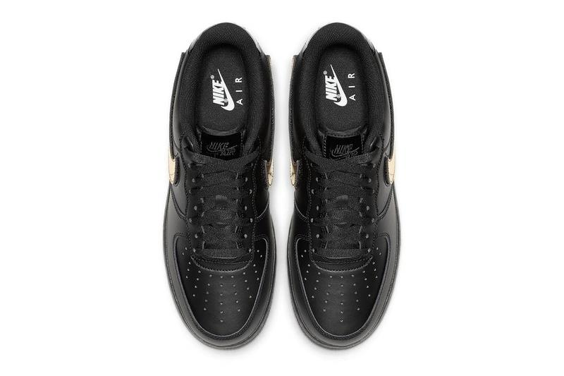 Nike Air Force 1 Black Gold Swoosh
