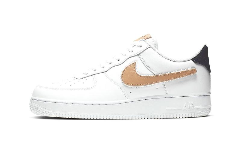 Nike Air Force 1 White Gold Swoosh