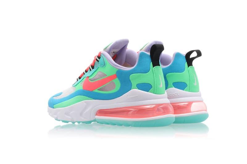 nike wmns air max 270 react electro green flash crimson blue lagoon release drop sneakers