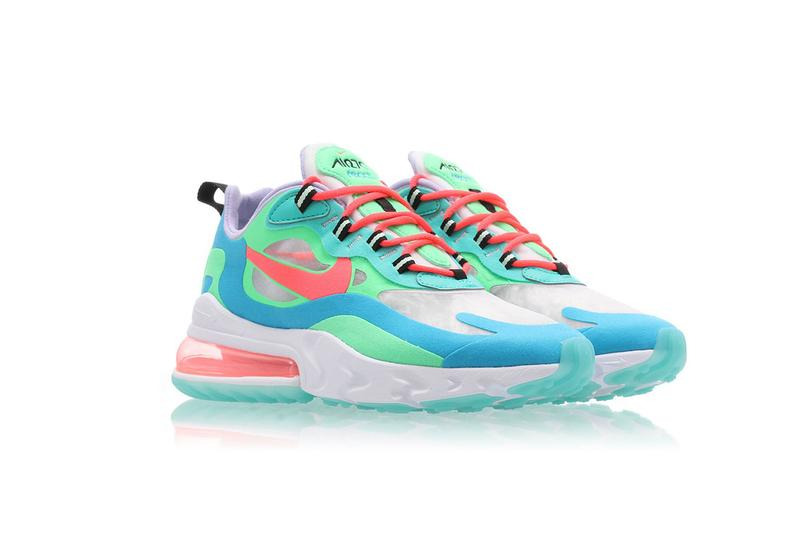 nike wmns air max 270 react electro green flash crimson blue lagoon release drop sneakers