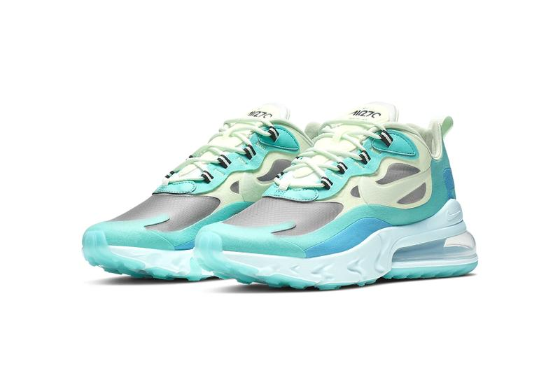 nike air max 270 react hyper jade sneakers footwear shoes sneakerhead barely volt blue lagoon frosted spruce