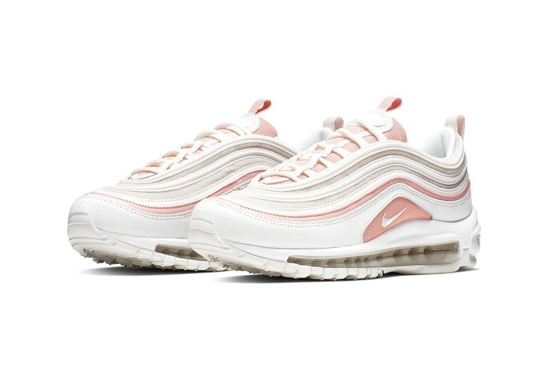 nike air max 97 bleached coral pink white summer sneakers shoes