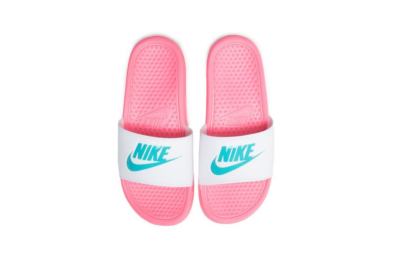 Nike Benassi Slides Sunset Pulse Teal Nebula White