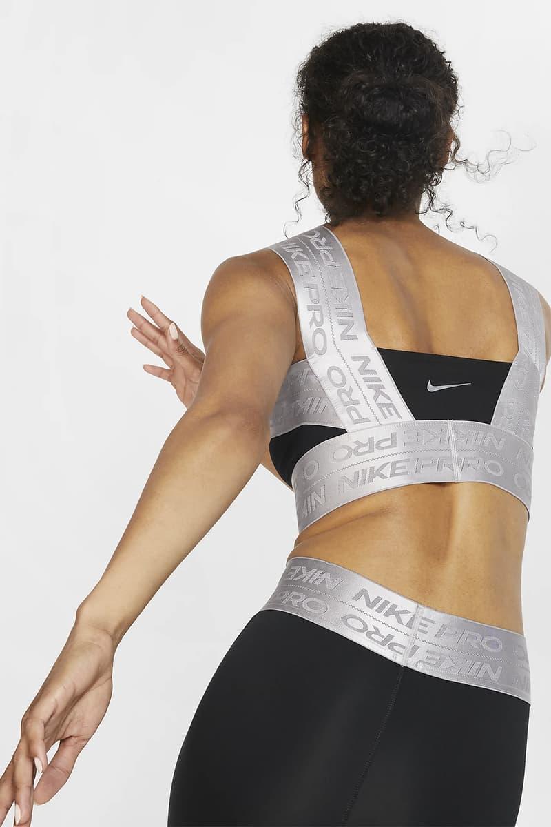 nike pro tank sports bra workout fitness gym athleisure sportswear clothes black metallic silver juniper fog thunder grey