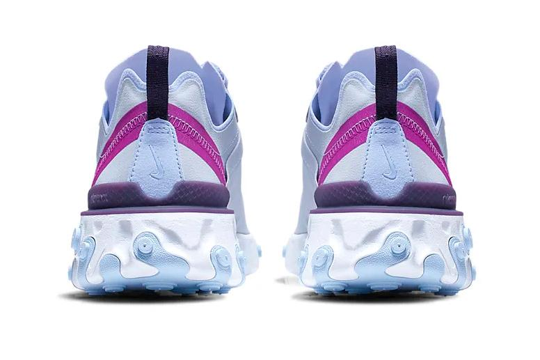 nike react element 55 football grey hyper violet grand purple psychic blue