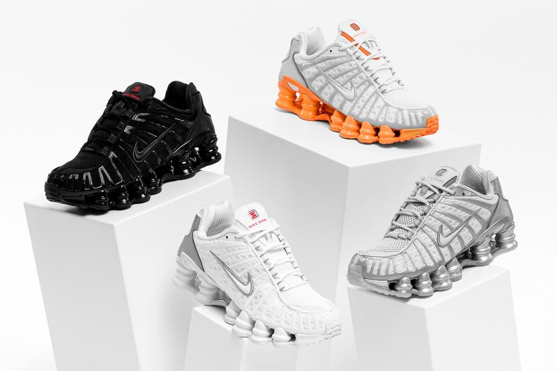 Nike Shox TL Sneakers White, Silver/Gray, Orange and White, Black