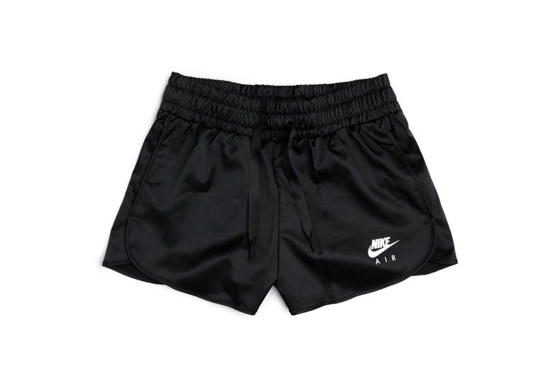 nike sportswear satin shorts elastic waist black