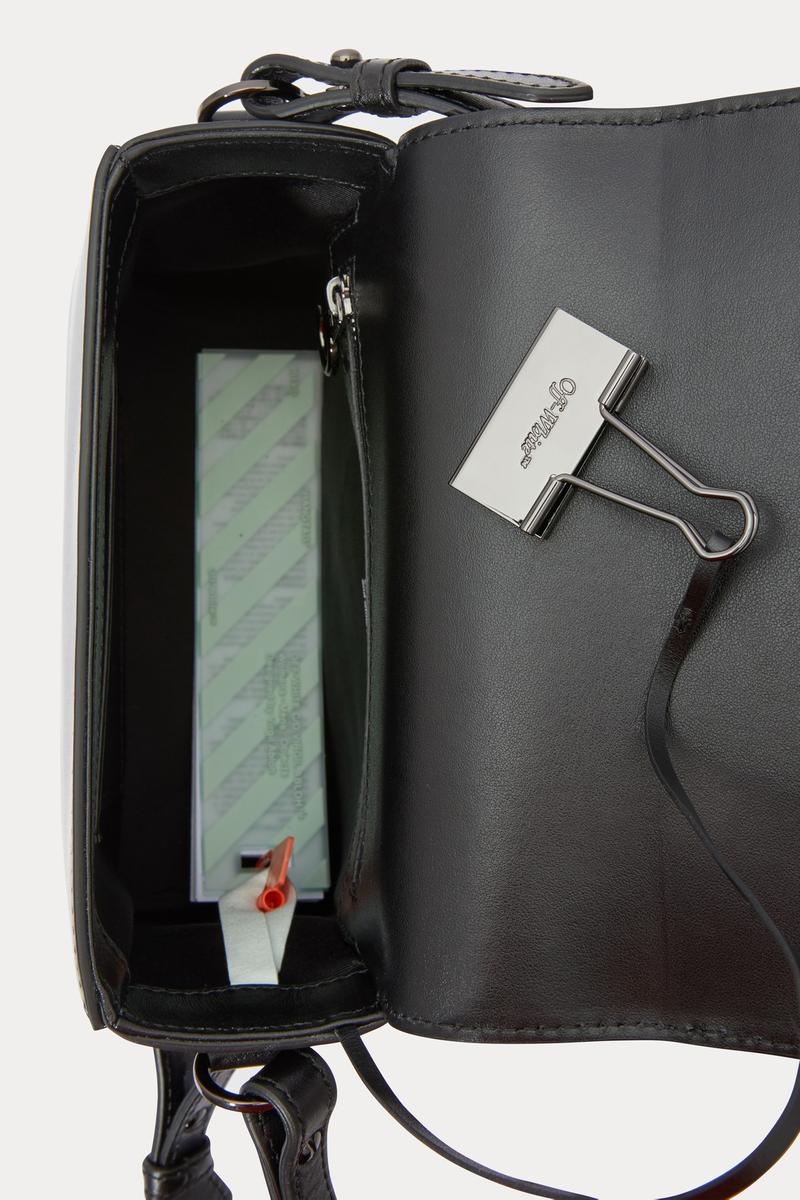 off-white binder clip bag black leather fringe shoulder crossbody