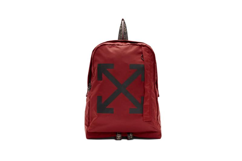 Off White Easy Logo Backpacks Red