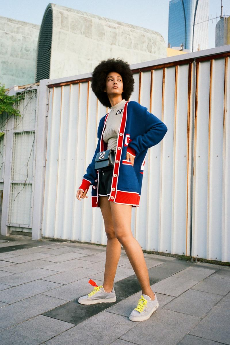 off white pre fall 2019 collection hbxwm hbx fashion designer streetwear clothes editorial photoshoot model jackets denim bags