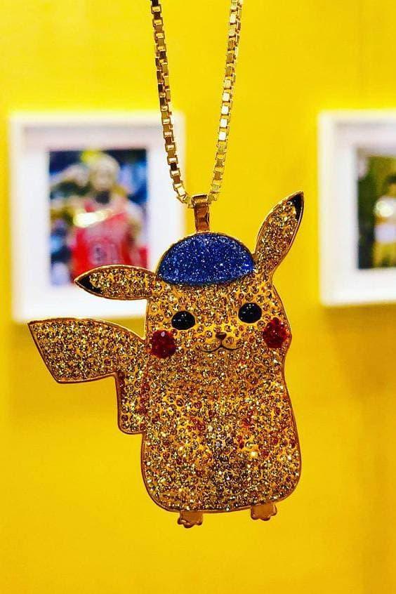 Dan Life Pikachu Crystal Rhodium Silver Necklace