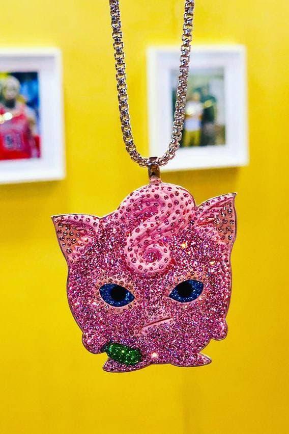 Dan Life Jigglypuff Crystal Rhodium Silver Necklace