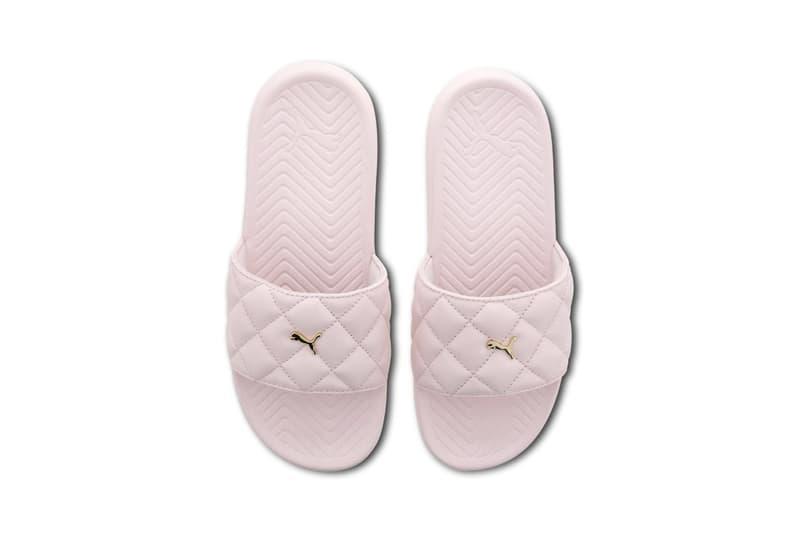 PUMA Pastel Pink Popcat Slides Summer Sandals Quilted Gold Hardware Logo Shoe Beach Pool Sporty