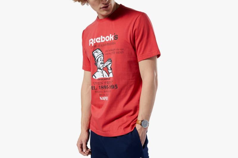 reebok classics food pack pizza red t-shirt