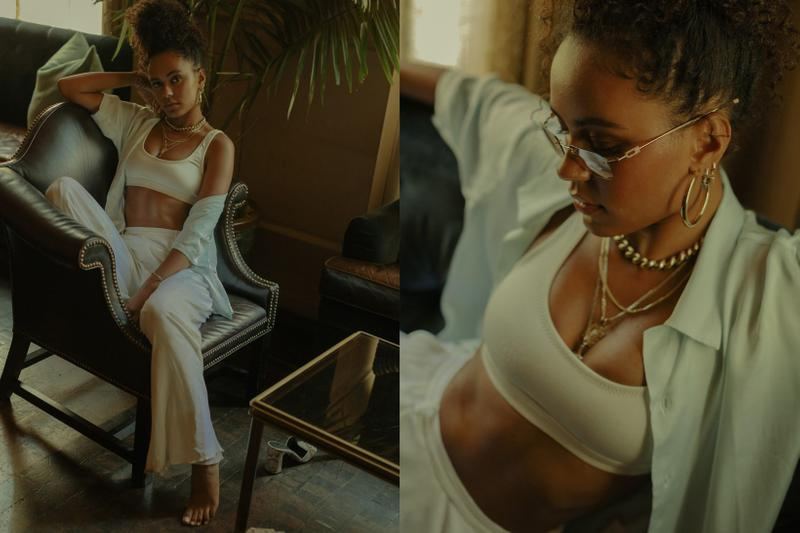 The Concept NY Summer Editorial Shirt Blue Sports Bra White