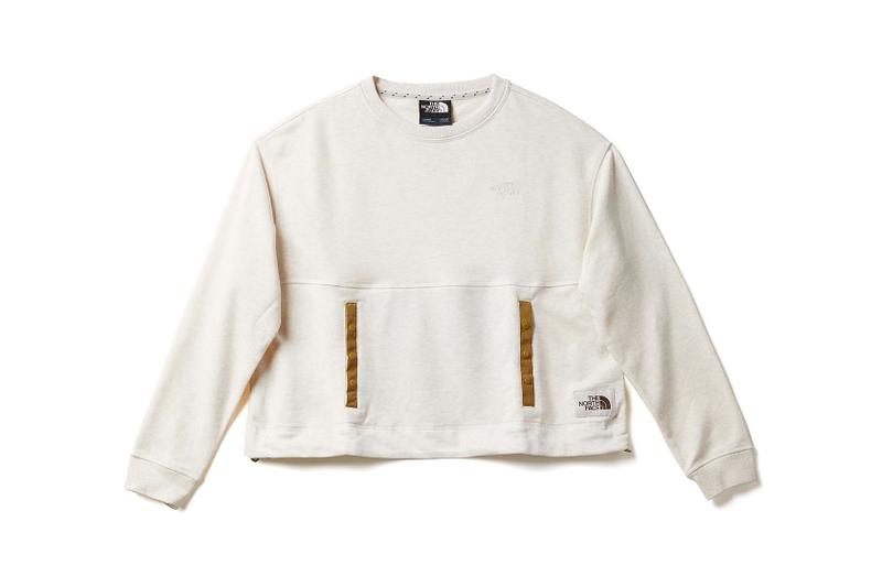 the north face back to school heritage white crop sweater