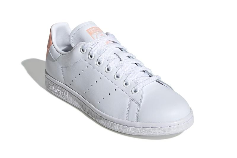 adidas stan smith cloud white glow pink color blocked tennis sneaker