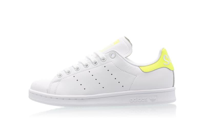 adidas Originals Stan Smith Neon Yellow White Logo Heel Detailing Sneaker Release Footwear Trainer