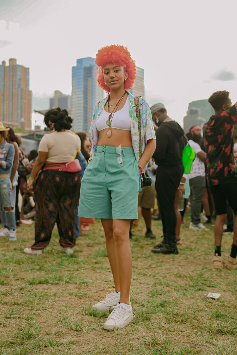 Afropunk 2019 Festival Street Style Top White Shorts Blue