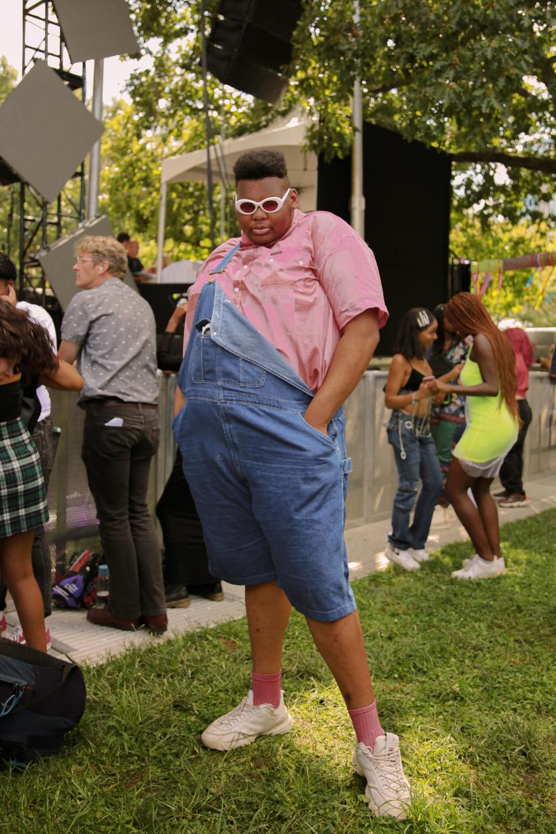 Afropunk 2019 Festival Street Style Top Pink Overalls Blue