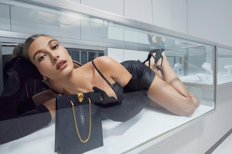 alexander wang bvlgari bag campaign hailey biber baldwin leather dress collaboration