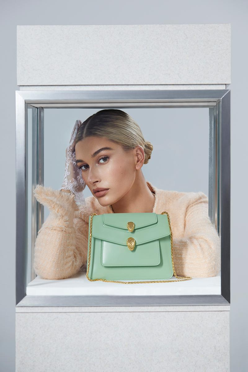alexander wang bvlgari bag campaign hailey biber baldwin green collaboration