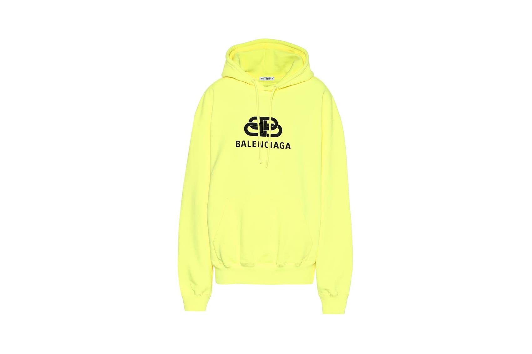 Balenciaga Neon Logo Cotton Hoodie Lime