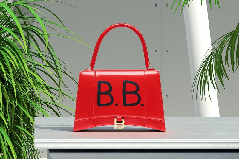 balenciaga hourglass purse bag red initials customized customizable graffiti writing